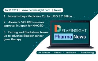 Novartis buys Medicines Co. for USD 9.7 Billion; Alexion's SOLIRIS receives approval in Japan for NMOSD; Ferring and Blackstone teams up to advance Bladder cancer gene therapy